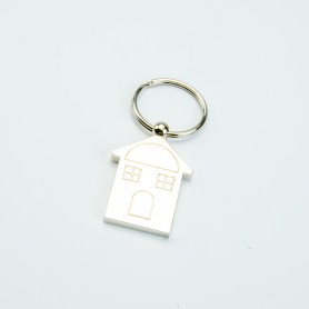 Metaal sleutelhanger huisje