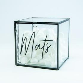 Giftbox kubus in glas - zwart